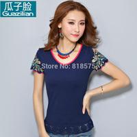S-XXXL 2014 summer new desigual national trend women short sleeve embroidery t-shirt,slim show thin all-match woman clothes,hot