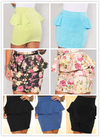 Ivory Multi-Color Floral Print Peplum Skirt LC71054 women Pencil Mini Skirt saia skirt skirts womens new 2014