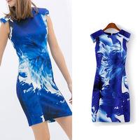 Summer Dress 2014 Desigual Print Women's Ladies Tempt Men Street Lady Queen Casual Dress Party Evening Elegant