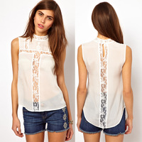 Women Blouse Shirts Perspective Patchwork Lace Chiffon Sleeveless Sexy Summer Pullover Plus Size Tops Clothing White