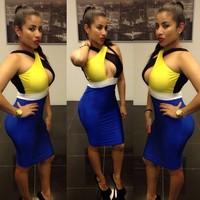 New 2014 Women Hot Sexy Bodycon Dress Backless Lady Sleeveless Party Bandage Dress Blue Rose #15