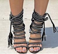 2014 Brand women shoes designer high heels summer boots spike rope criss cross sandals ankle wrap dress shoe