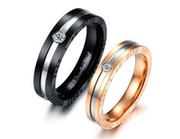 Fashion Jewelry Stainless Steel Ring Wedding Engagement Ring Lovers Ring Men&Women Crystal Jewelry SR113
