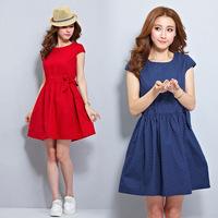New 2014 women Summer Dress short-sleeve polka dot Cotton Dress Korea Fashion vintage Girl casual Dress plus size loose M-2XL