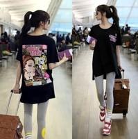 J.c Korean summer new ultra loose plus size long style women cotton short sleeve Tee t shirt top
