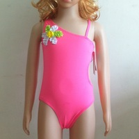 2014 New One-Piece Floral Pink Girls Swimwear High Quality Children swimwear