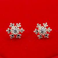 3piar 2015 new women fashion 800477 zircon earrings snowflake jewelry wholesale 18k Gold plated