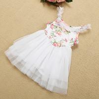 2014 summer children floral princess dress girls lace suspender tulle tutu dress kids party dress children clothing 3312