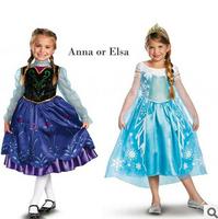 2014 New Frozen Dress Baby&Kids Girl Summer Dress Frozen Party Princess Long Sleeve Elsa&Anna Dresses Vestidos De Menina c20w14