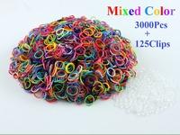 Freeshipping 1 packs/lot Hot sell Loom Rubber Bands Loom Bands Refills Twistz Bandz (3000bands+ 125 S-Clips+10 Charm+1 Hook/lot)