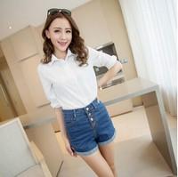 M&C S410 2014 buttons shorts vintage high waist jeans women denim shorts skinny jeans short jeans pants