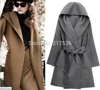 2015 new arrival brand  Fashion hooded  handmade design double faced fleece cashmere elegant overcoat woolen outerwear female