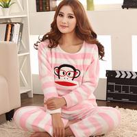 Autumn/winter Hot Selling,Girl's Thickening Flannel Long-sleeve Sleepwear Set,Cartoon Stripe Monkey Fleece Pajamas Set,M/L/XL