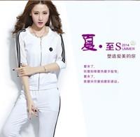 Free shipping Summer cotton sports set 2014 summer chiffon short-sleeve cardigan casual set female trousers