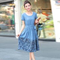 women's 100%  cotton o-neck print short-sleeve medium-long with belt dress