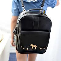 high quality school backpacks punk metal button children laptop pu leather zipper backpacks men women bookbag