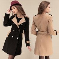 2014 women coat new fashion women's slim wool blended double-breasted coat winter coat 9280