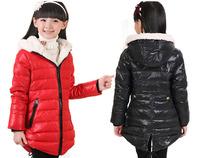 Fashion Children girls winter brand down jacket coat medium long slim thick parkas kids warm cotton-padded zipper outerwear coat