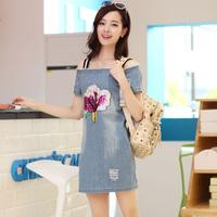 2014 summer women's  slit neckline cotton short-sleeve gentlewomen medium slim dress