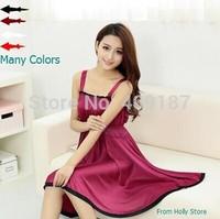 Free shipping factory price, Summer nightgown spaghetti strap lace decoration ice silk sexy sleepwear, lounge dress