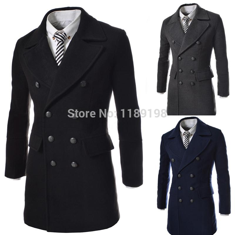 2014 Medium style fur collar splice double-breasted black wool woolen lapel Casual COAT OUTWEAR, Men's Overcoat Winter Mens Coat(China (Mainland))