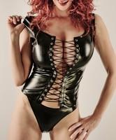 Discount!! 2014 Wholesale Sexy Faux Leather Lingerie Black Catsuit  Women Latex Bodysuit  Wholesale Costume