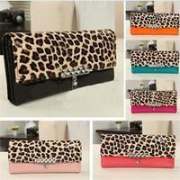 2014 New Fashion Leopard Women Clutch Bags/Sexy PU Leather Women Purse/Cute Candy Color Wallet Women