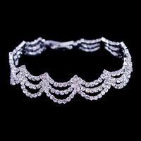 New Fashion Jewelry,Crystal  Bracelet,Rhinestone Beautiful Hand Chain ,Silver Link Bracelet,Elegant High Quality Bracelet BG-33