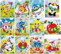 F106 20 Designs 3D EVA Cartoon Animals Puzzle Paste Stickers Handmade Foam Self-adhesive Early Educational DIY Toys 170x125mm