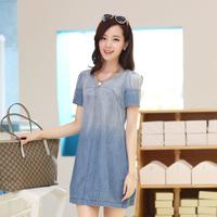 2014 women's cotton denim one-piece dress short dress o-neck short-sleeve