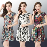 2014 New Fashion  Women Dress Summer Multicolor Digital Printing Dresses  short sleeve casual dress Plus Size