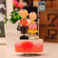 Romantic rotating music box loving you happy station music box sweet gifts for lovers birthday gift