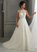 New Style A Line Chiffon Halter Wedding Dresses 2014 with Delicate Beading Embroidery MN060(China (Mainland))