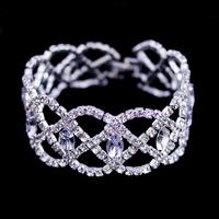 Fashion Jewelry,Rhinestone Crystal Bracelet,European Style Round Hand Chain,Silver Bracelet Accessories,Genuine Bracelet BG-37