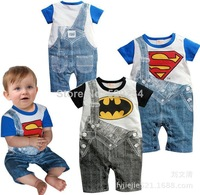 2014 spring/summer new Brand superman baby boys short sleeve rompers  Colorful Infant jumpsuits baby clothing carters