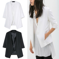 Trendy Bloggers Chic Women 3/4 Sleeve Basic Slim Suit Jacket Blazer S M L Black / White
