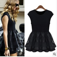 Europe and the United States women's 2014 summer European pure color new sleeveless vest organza pleated dress