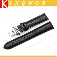 Black Genuine Leather Butterfly Buckle Watchband 14mm 16mm 18mm 19mm 20mm 21mm 22mm Bracelet for Movado Watches