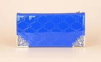 2014 new korean patent leather print zipper women wallet, phone bag for girl H01