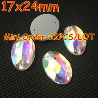 BEST QUALITY !!! 12PCS/LOT Sew On Flatback Oval Shape Fancy Stone 17x24mm Crystal AB