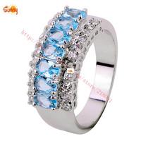 Size7/8/9/10/11 Punk  Jewelry lady's  Aquamarine Ring  24KT white Gold Filled  1pc freeshipping