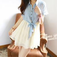 NEW 2014 summer  women dress fake two thin summer dress girls summer chiffon dress Korean bow son