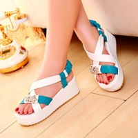 2014 the new leisure female with flat sandals with a word strap shoes