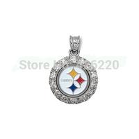 free shipping fashion 100pcs a lot  rhodium plated NFL Pittsburgh Steelers team logo with rhinestone sports Pendant