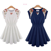 Free shipping!!! 2014 O-neck Print Sleeveless Cute Mini Woman Dress For  Fashion #1108