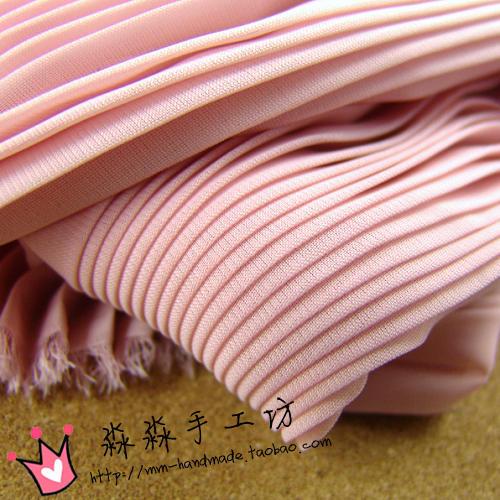 DIY textile fabric Pale pink organ plait pleated chiffon 2014 new full-skirted dress wholesale fabric(China (Mainland))