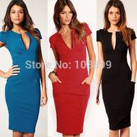 2014 Elegant V Neck Celebrity Pencil Dresses Blue Knee Length Ladies Formal Evening Party Women Work Wear Bodycon Dress