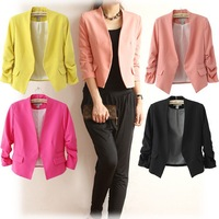 New Arrival Women Blazer 2014 Fashion Puff -sleeved Solid Color Ladies Blazer Feminino Suits For Women