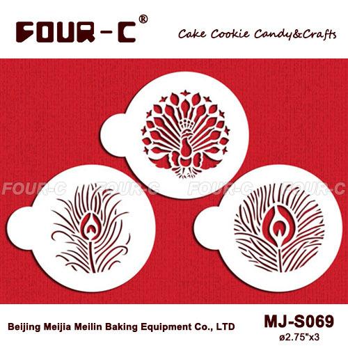 Pfau Cookie schablone festgelegt, klassischen cupcake schablone, Kaffee und Schokolade schablone