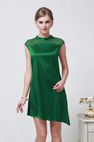 2014 Fashion Women Dress Wild Solid Color Silk Embroidered Silk Dress Green Size L - XXXL 6051- Free Shipping